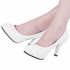 Elegant Ladies Solid Color Shallow Mouth Round Toe Patent Leather Thick High Heel Shoes White 36