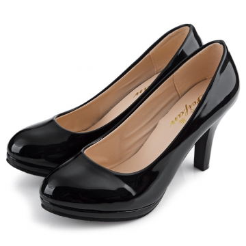 Elegant Ladies Solid Color Shallow Mouth Round Toe Patent Leather Thick High Heel Shoes Black 39