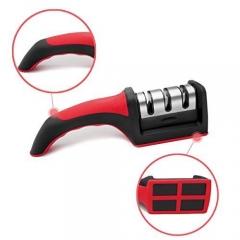 3 Panel Knife sharpener - Hand held - Red