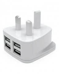 4-Port USB Travel Charger white 4.4A