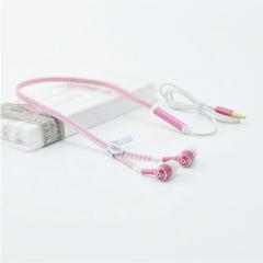 Hot Sale!Glowing Earphones Metal Zipper Headset Luminous Light Stereo Handsfree For All Mobile Phone Pink