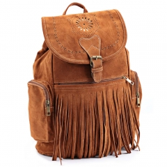 Retro Engraving and Fringe Design Women Satchel brown one size