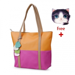 High Capacity Contrast Color Dual Purposes Shoulder Handbag for Lady orange+rose red one size