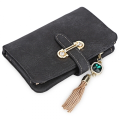Women Charming Tassel Rhinestone Embellishment Wallet Card Holder Black 3.54*0.98*5.31Inch