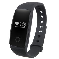 ID107 Smart Watch with Heart Rate Monitor Pedometer Remote Camera Function Black One Size