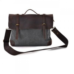 Briefcase Garment Washed Canvas Leaisure Laptop Genuine Leather Deco Attache Messenger Bags For Men Grey 14inch