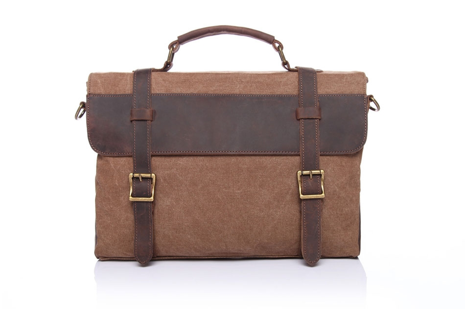 HIGH QUALITY MATERIAL ¨C This messenger bag is made of canvas and FULL  GRAIN LEATHER trim.