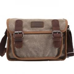 Messager Men'sleather Canvas Bags handbag Casual Travel Bolsa Masculina Men's Crossbody Shoulder Bag khaki 14inch