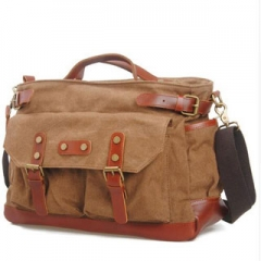 Briefcase/Attache Message Bags For Men Genuine Leather Single-Shoulder Canvas Travel Bags Coffee 14inch