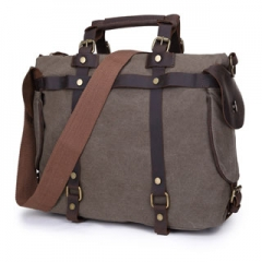 Tote Bag High Quality Vintage Fashion Casual Canvas Crazy Horse Leather Men Travel Handbag Grey one size