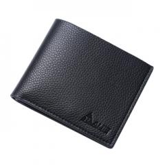 Men short leather wallet genuine leather bag wallet cross business men Black One Size