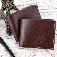 Short man purse leather PU wallet cross section youth leisure business  wallet Brown One Size