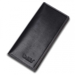 Men Long Wallet many Card Wallet genuine fashion business male Thin Wallet Black One Size