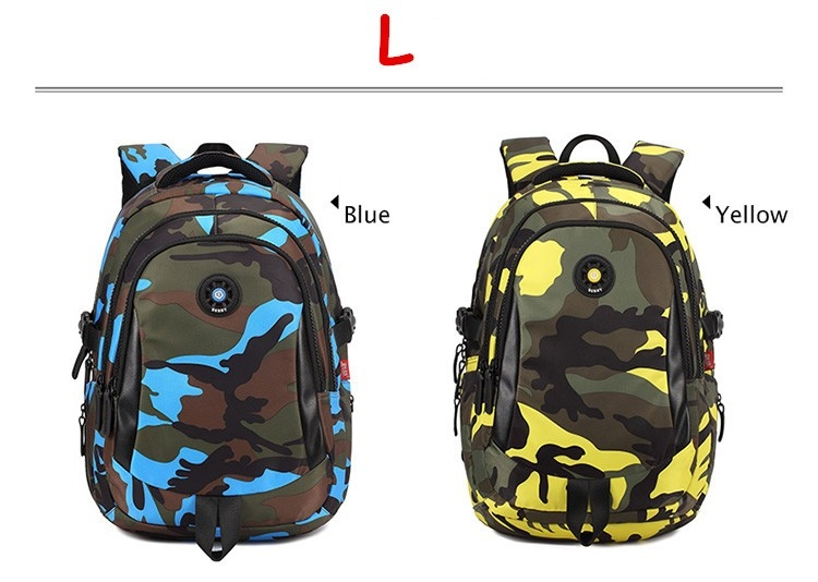 216e95c6d7 3 Sizes Camouflage Waterproof Nylon School Bags for Girls Boys ...