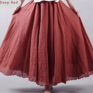 Linen Double Layer Elastic Waist Maxi Skirt (9 Colors) Deep Red free size