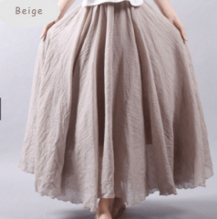 Linen Double Layer Elastic Waist Maxi Skirt (9 Colors) Beige free size