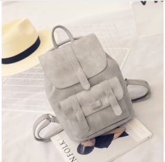 Backpack for Women Backpacks Solid Vintage School Bags for Girls Black PU Leather Women Backpack grey one size