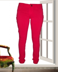 Stretchy Skinny Jeans in -Rich Red Red 1