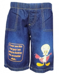 Dorris & Morris Blue Denim Kids Printed Cartoon Shorts-Fred blue denim 2-3YEARS