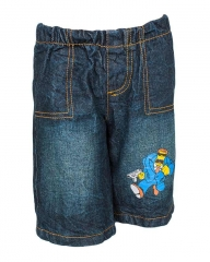 Dorris & Morris Blue Dark Wash Denim Kids /Toddler Cartoon Gun Man Shorts blue denim 2-3YEARS