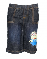 Dorris & Morris Black Denim Kids Toddler Cartoon Minion shorts blue denim 2-3YEARS