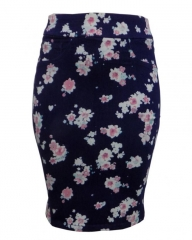 Navy Blue Floral Print Pencil Skirt - Navy Blue Floral, 8