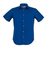 Zecchino Royal Blue- Short Sleeve Men's Slim Fit Shirt Royal Blue S