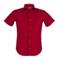 Zecchino Red - Short Sleeve Slim Fit Men's Shirt Red S
