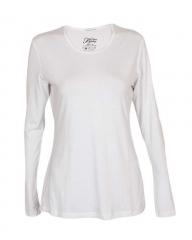 White Long Sleeve Knit T-Shirt White s