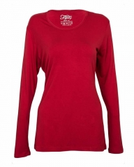 Red Women's Long Sleeve Knit Tee Shirt Red M