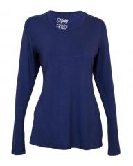 Women's Long Sleeve Knit Tee Shirt - Navy M
