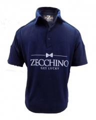 Night Blue Printed Text Short Sleeved Polo Shirt Night Blue S