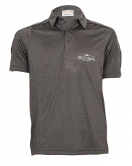 Carbon Printed Text Short Sleeved Polo Shirt Carbon S