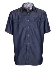 Blue - Men's Denim Shirt Blue S