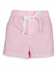 Pink White Dot Print Sleep Wear Boxer Short Pink White S