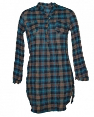 Checked long sleeved ladies tunic top Blue,Brown checked s