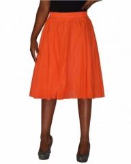 Orange Pleated Wrap Midi Skirt Orange M