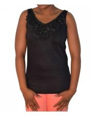 Black Ladies Sleeveless Sequin Embellished Blouse Black s
