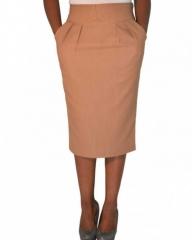 Brown Ladies Midi Skirt Khaki Brown s