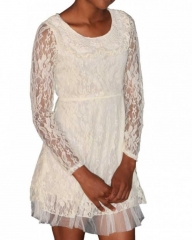 "cream Ladies Lace Dress  "" cream s"