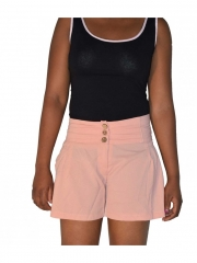 Summer Women Chiffon Wide Waistband Shorts Pink s