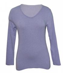 Light Purple V neck Long Sleeved Ladies Top light purple m