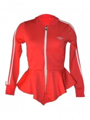 Red Ladies Long Sleeved Track Jacket red free size