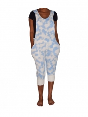 Blue and White Hooded Ladies Jump Suit blue and white m