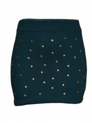 Ladies Green Studded A-line Mini Skirt green s