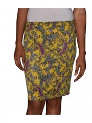 Yellow Lemon Multicolored Straight Ladies Skirt yellow lemon s