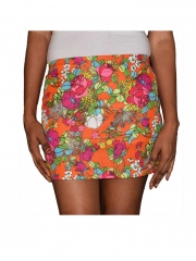 Women Style Floral Print Ladies Mini Skirt multicolored free size