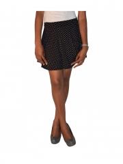Black Dotted Women Skater Skirt black s