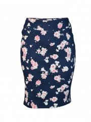 Navy Blue Floral Print Pencil Skirt navy blue 12