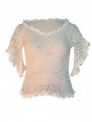 Open Stitch Cable Poncho Ladies Top cream white free size